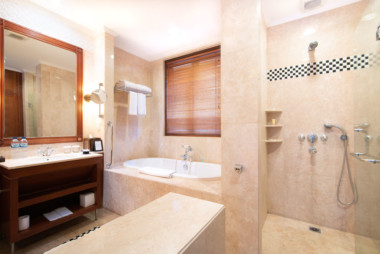 Here is the fully equipped bathroom with shower and bathtub