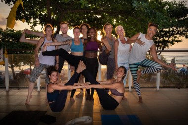 End of the creative vinyasa workshop at sunset in Bali