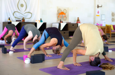 Prasarita pada uttanasana pose during a 200 hour Yoga teacher training class