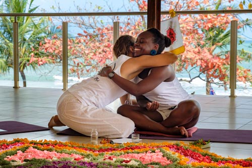Yoga teacher certification hug